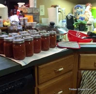 on canning day, my kitchen quickly turns into a mess!