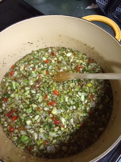 Pickle relish cooking