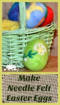 needle felt easter eggs using small bits of dyed wool roving or fiber. A quick craft that lasts for years.