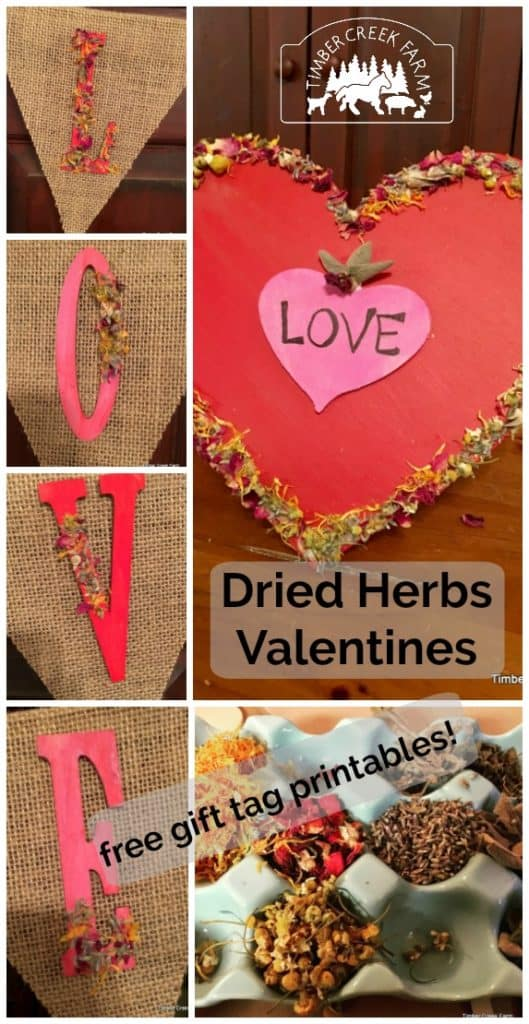 dried herbs valentine projects