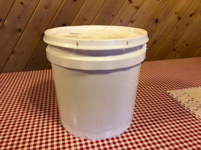white food grade three gallon bucket